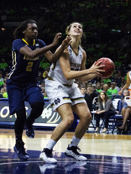 Sophomore forward Kathryn Westbeld looks for a shot during Notre Dame's 74-39 victory over Toledo on Wednesday night.