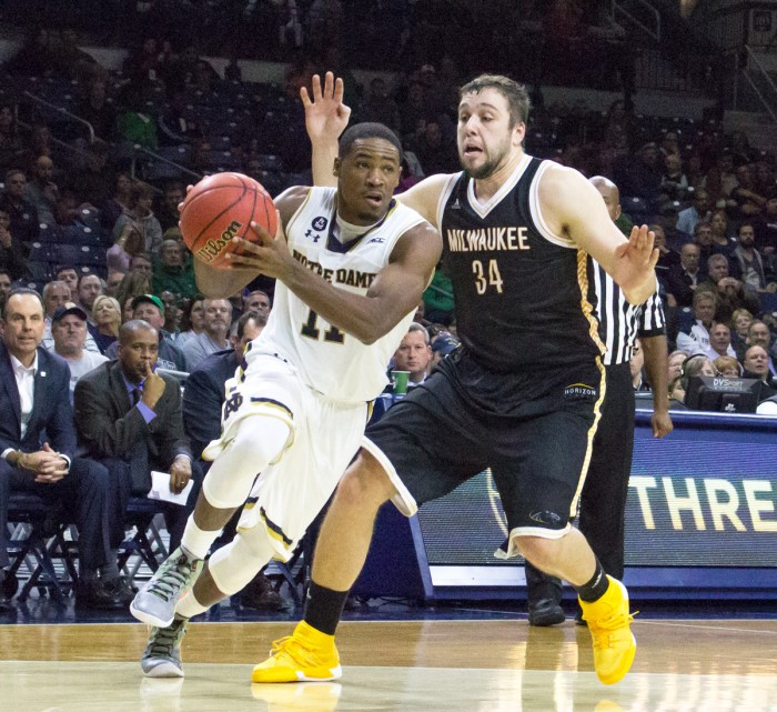 Notre Dame junior guard Demetrius Jackson drives to the basket during Notre Dame's 86-78 victory over Milwaukee on Nov. 17 at Purcell Pavilion.