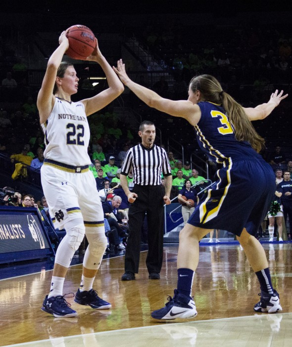 Irish graduate student guard Madison Cable searches for a teammate during Notre Dame's 74-39 win over Toledo on Nov. 18.