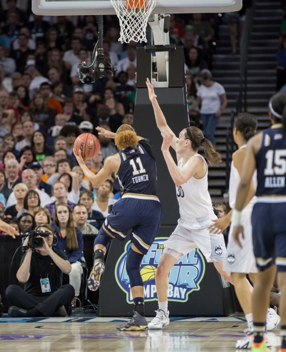 Sophomore Briana Turner goes up for a layup during Notre Dame's 63-53 loss to UConn on April 7 in Tampa, Florida.