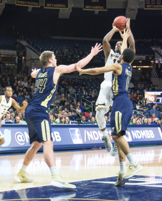 Irish junior guard Demetrius Jackson rises up over two Georgia Tech defenders during Notre Dame's  72-64 win over the Yellow Jackets on Wednesday. Jackson scored 24 points against Duke on Saturday.