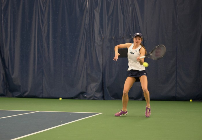 Irish junior Mary Closs fires a forehand during Notre Dame's 6-1 loss to Stanford on Feb. 6 at Eck Tennis Pavilion.