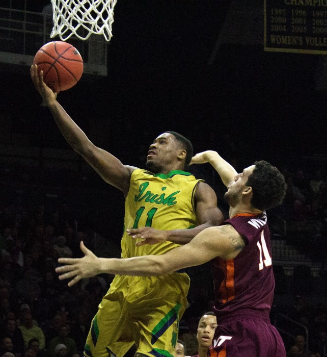 Junior guard Demetrius Jackson attacks the basket during an Irish 83-81 victory over Virginia Tech on Wednesday at Purcell Pavilion.