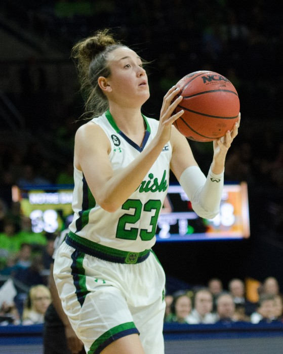 Senior guard Michaela Mabrey shoots during an Irish 79-66 victory over Tennessee on Monday at Purcell Pavilion.