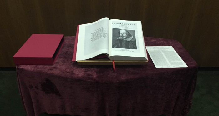 Shakespeare's First Folio is on displayi n Hesburgh Library until Friday.
