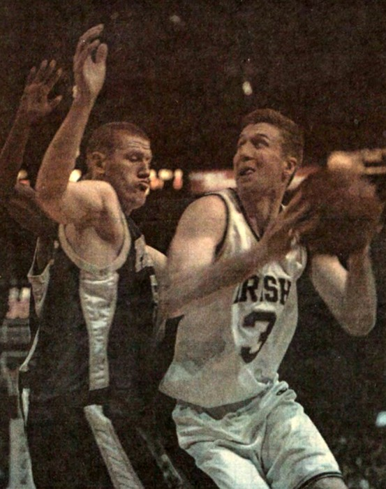 Former Notre Dame forward Troy Murphy makes a post move at Madison Square Garden in New York, New York, on March 8, 2001.