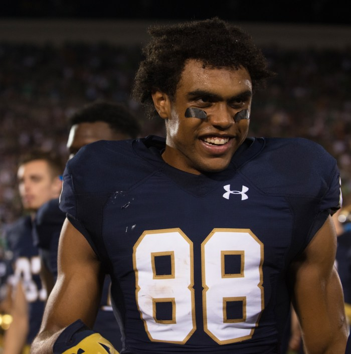 Irish junior receiver Corey Robinson smiles during Notre Dame's 38-3 win over Texas on Sept. 5 at Notre Dame Stadium.