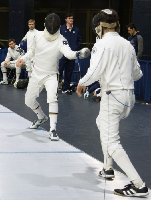 Junior epee Arthur Le Meur fences during the DeCicco Duels at the Castellan Family Fencing Center at Notre Dame on Jan. 16.