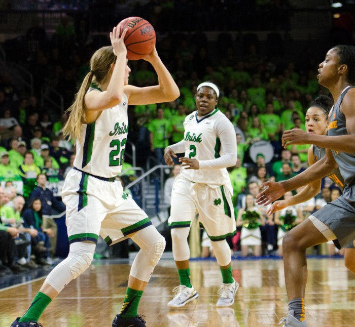 Graduate student guard Madison Cable, left, searches for a  teammate during Notre Dame's 79-66 win over Tennessee on Jan. 18.