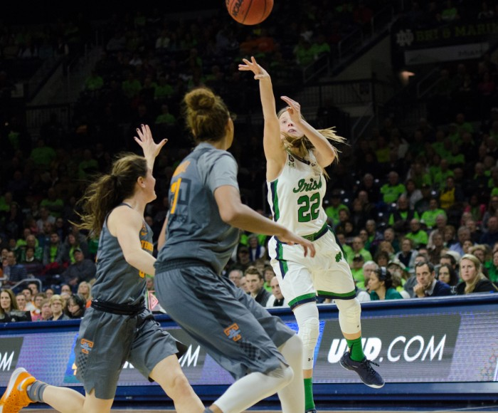 Graduate student guard Madison Cable shoots during a 79-66 victory over Tennessee on Jan. 18 at Purcell Pavilion.