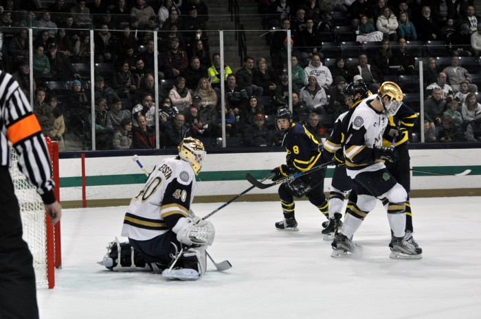Irish sophomore goaltender Cal Petersen made 38 saves during Notre Dame's 3-1 win over Vermont on Saturday night.