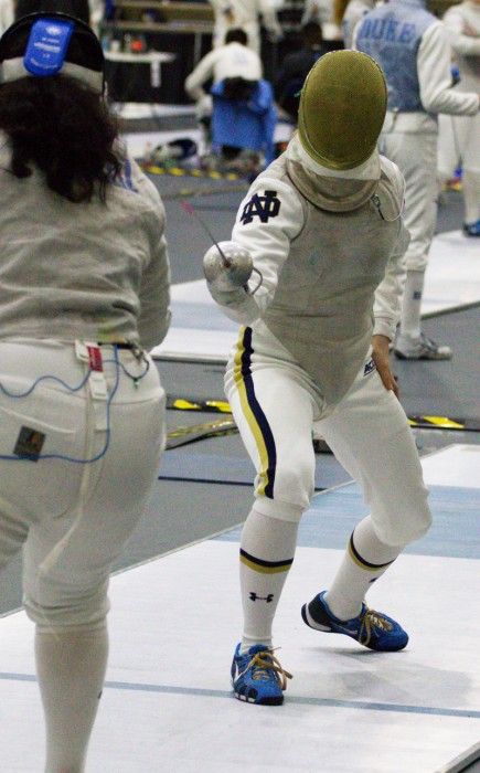 Irish sophomore Erin Dietsche competes in the Northwestern Duels at Castellan Family Fencing Center on Jan. 30.