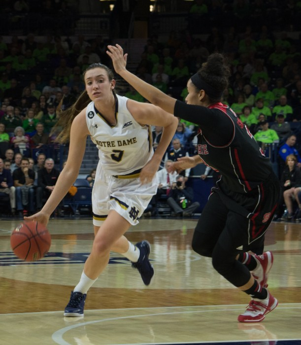 Freshman guard Marina Mabrey dribbles past a North Carolina State defender during Notre Dame's 82-46 victory Feb. 4. The Irish will host conference foe Miami (Fla.) at Purcell Pavilion on Sunday.