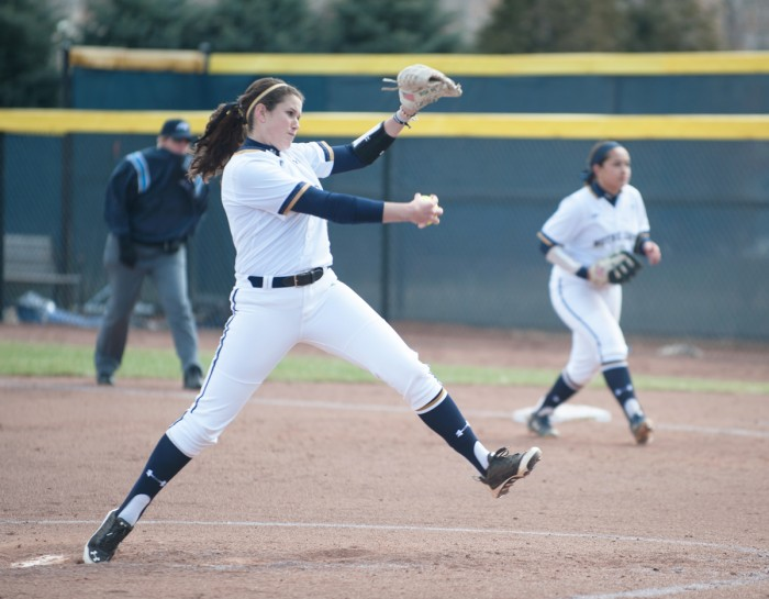 Irish junior Rachel Naslund delivers a pitch during Notre Dame's 6-1 win over Georgia Tech on March 21 at Melissa Cook Stadium.
