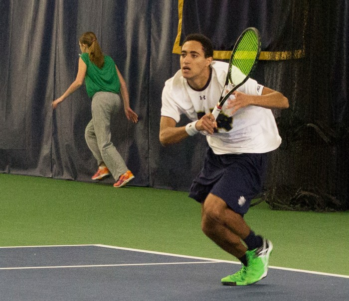 Irish freshman Grayson Broadus competes during Notre Dame's 5-2 win over Indiana on Feb. 7 at Eck Tennis Pavilion.