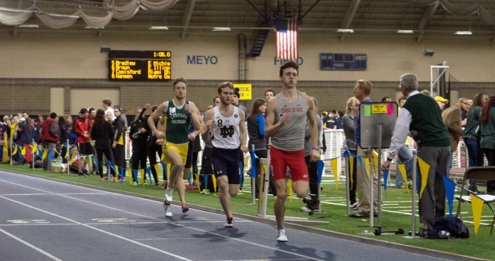Irish sophomore Kirk Hansen sets his sights on the runner ahead of him during the 800-meter run at the Meyo Invitational on Feb. 6 at Loftus Sports Center. Hansen finished in 17th place in the event.