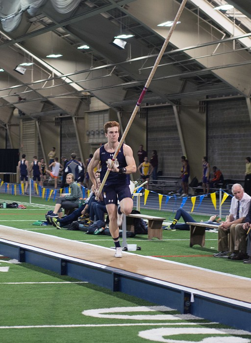 Irish junior pole-vaulter Nathan Richartz approaches the bar during the Alex Wilson Invitational on Saturday at Loftus Sports Center.