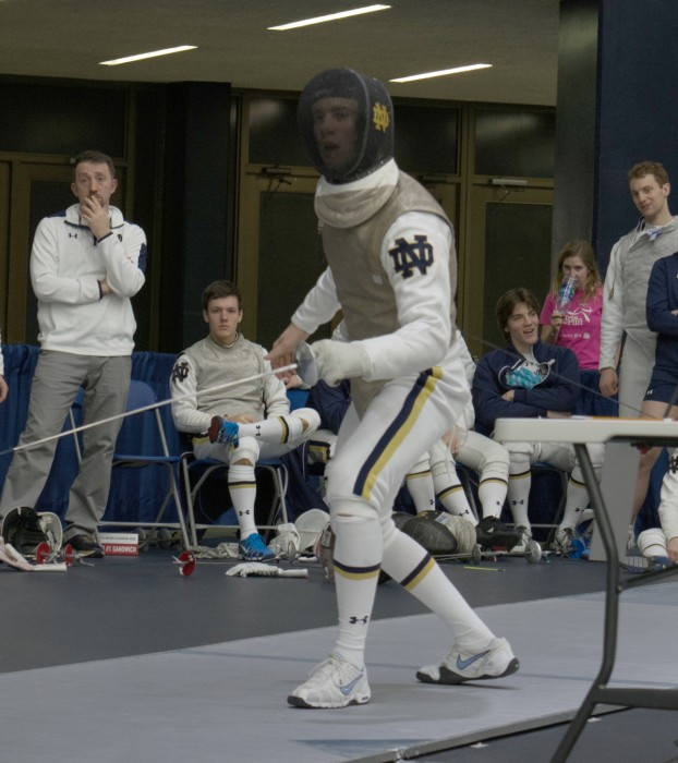 Irish sophomore foil Virgile Collineau searches for an opening during the first day of the DeCicco Duals on Jan. 16 at Castelan Family Fencing Center. Collineau was named ACC Male Fencer of the Week last week.