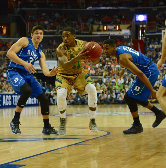 Irish junior guard Demetrius Jackson looks to drive during Notre Dame's overtime win over Duke on Thursday in the ACC tournament.
