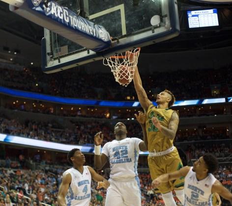 Senior forward Zach Auguste throws down a dunk during the ACC tournament last week in Washington.