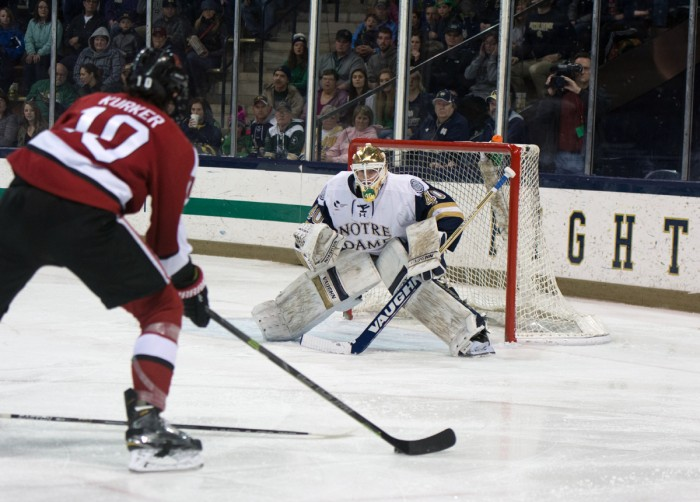 Sophomore goaltender Cal Petersen guards the net during Notre Dame's 6-4 loss to Northeastern in the Hockey East Tournament on March 12. Petersen made 28 saves on the day.