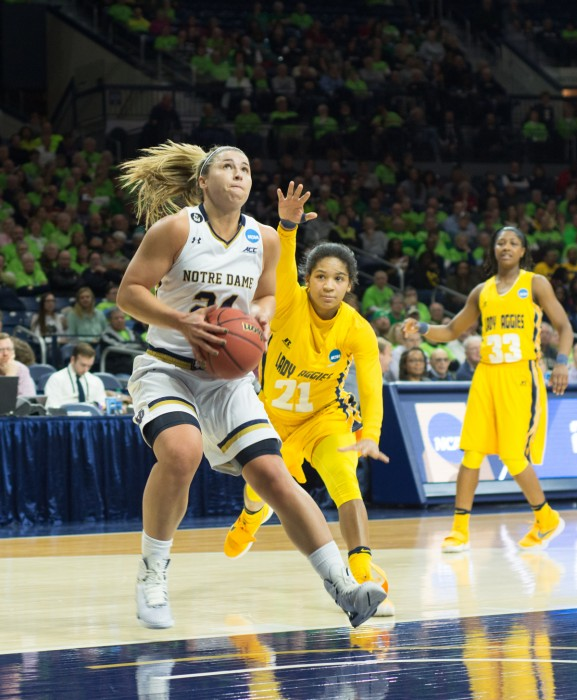 Irish senior guard Hannah Huffman gathers for a shot during Notre Dame's 95-61 victory over North Carolina A&T in the first round of the NCAA tournament on Saturday at Purcell Pavilion.