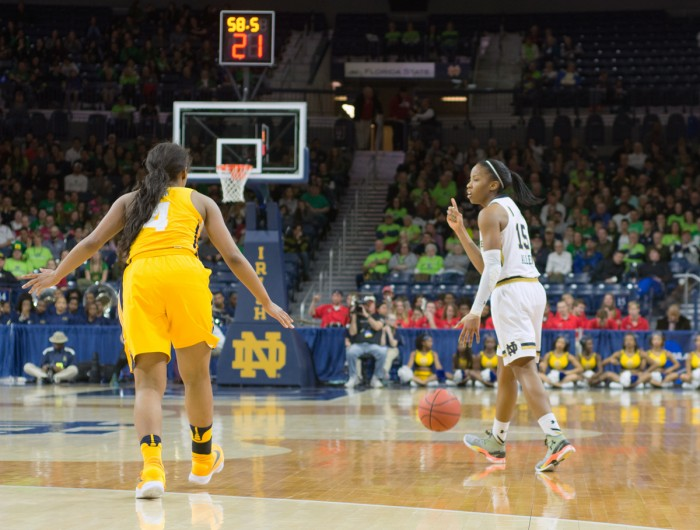 Irish junior guard Lindsay Allen directs the offense during Notre Dame's 95-61 win over North Carolina A&T on Saturday at Purcell Pavilion.