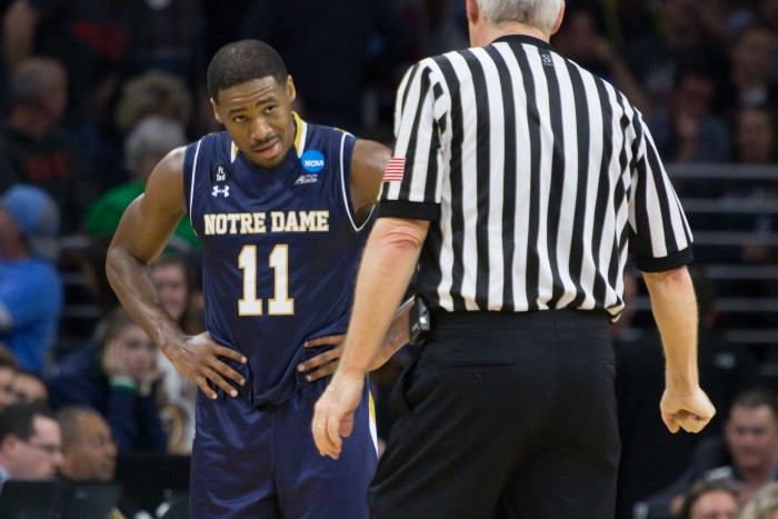Irish junior guard Demetrius Jackson pleads his case to an official in the waning seconds of Notre Dame's 88-74 loss to North Carolina on Sunday night.