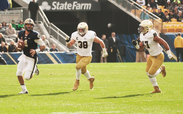 Junior linebacker James Onwualu chases after a receiver during Notre Dame's 42-30 win over Pittsburgh on Nov. 7 at Heinz Field.