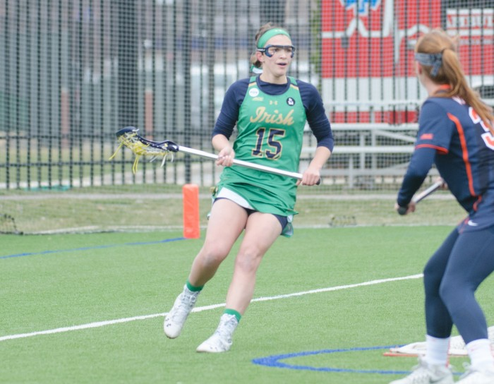 Irish junior attack Courtney Fortunato surveys the field during Notre Dame's 16-4 victory over Virginia on March 19 at Arlotta Stadium.