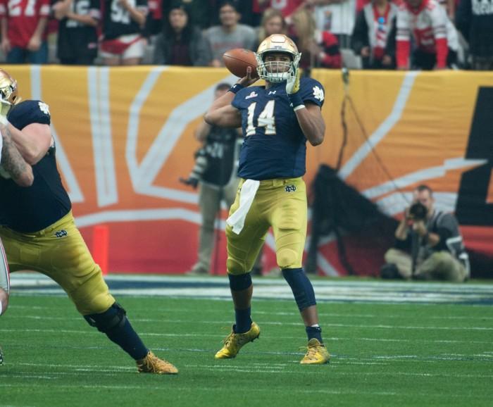 Irish junior quarterback DeShone Kizer throws a pass during Notre Dame's 44-28 Fiesta Bowl loss to Ohio State on Jan. 1 in Glendale, Ariz.