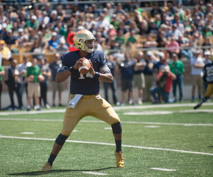 Irish junior quarterback DeShone Kizer drops back to pass during the Blue-Gold Game on Saturday at Notre Dame Stadium.