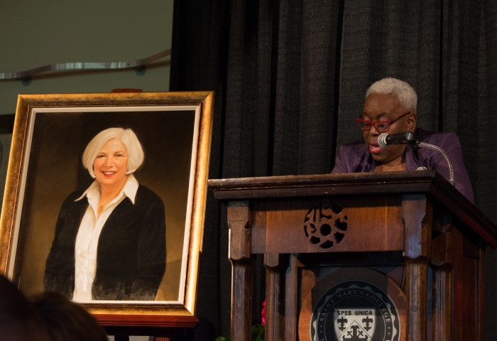 College unveils Mooney's presidential portrait at a tribute dinner on Friday.