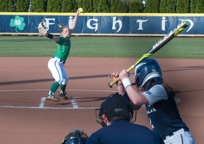 Irish senior left-hander Allie Rhodes delivers the pitch during Notre Dame's 5-0 win over Butler on Thursday at Melissa Cook Stadium.