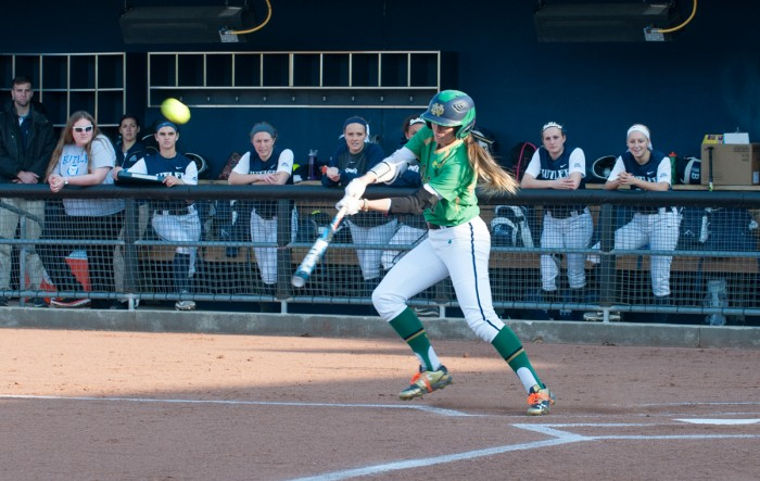 Irish junior center fielder Karley Wester connects with the pitch during Notre Dame's 5-0 win over Butler on Thursday. Wester had three hits, an RBI and a run scored in Sunday's 5-3 win over Virginia Tech.