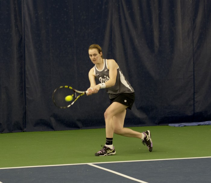 Irish sophomore Brooke Broda connects on a backhand during Notre Dame's 6-1 win over Indiana on Feb. 20 at Eck Tennis Pavilion.