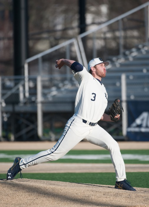 Irish junior starting pitcher Ryan Smoyer delivers a pitch  during Notre Dame's 6-3 win over Chicago State on April 12.