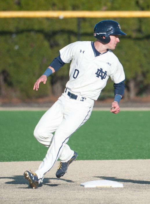 Irish sophomore left fielder Jake Shepski runs past second base during Notre Dame's 4-1 win over Boston College on April 15 at Frank Eck Stadium.