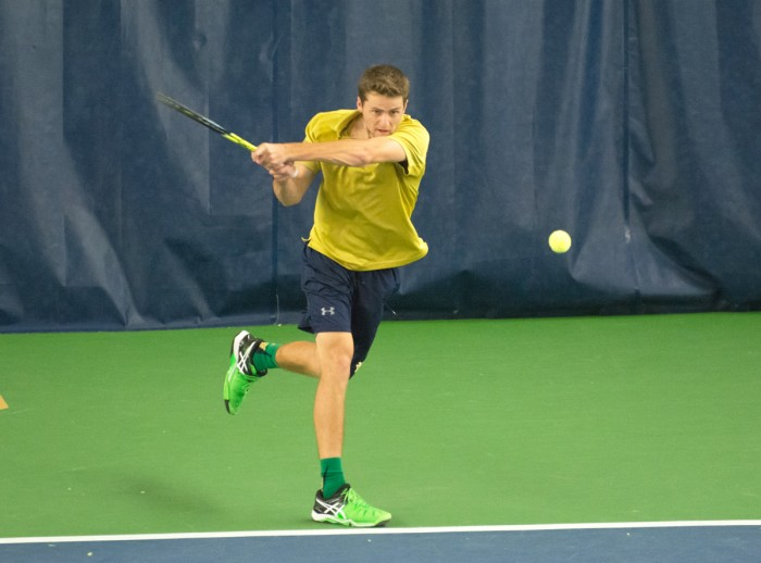 Irish senior Quinn Gleason returns a shot during Notre Dame's 5-2 win over Duke on March 18 at Eck Tennis Pavilion.