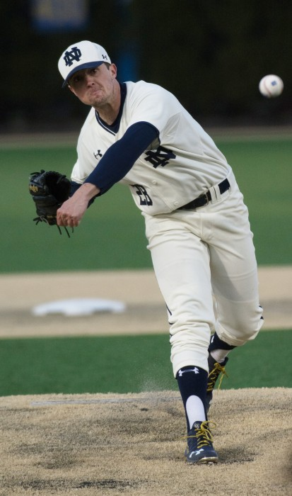 Irish senior left-hander Michael Hearne releases a pitch during Notre Dame's  9-5 win over UIC at Frank Eck Stadium on March 22.