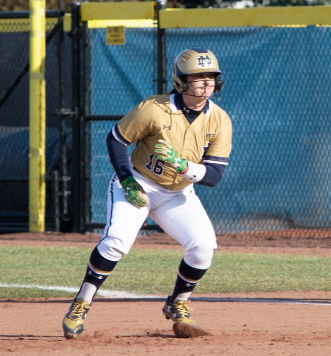 Irish freshman designated player Caitlyn Brooks takes a leadoff during Notre Dame's 10-2 win against Eastern Michigan on March 22. Brooks hit a three-run home run this weekend against North Carolina.