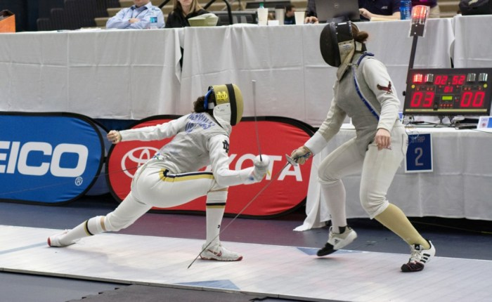 Irish freshman foilist Sabrina Massialas lunges at her opponent during the ACC championships on Feb. 27 at Castellan Family Fencing Center. Massialas went on to win the individual foil title.