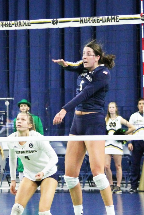 Junior outside hitter Sydney Kuhn makes a hit during Notre Dame's 3-2 loss to Syracuse at Purcell Pavilion on Oct. 4, 2015.