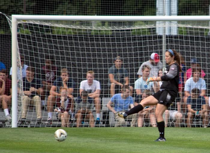 Irish goalkeeper Kaela Little passes the ball during a 1-0 win against Wisconsin on Aug. 21.