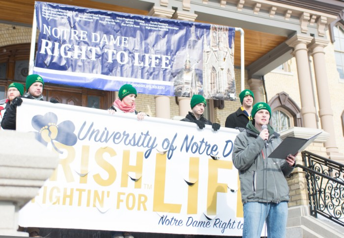 Members of Right to Life gather on campus for the March for Life rally last January after canceling its annual trip to Washington, D.C. for the national event due to weather. The group hopes to attend this year's rally, as well as put on a number of other events.