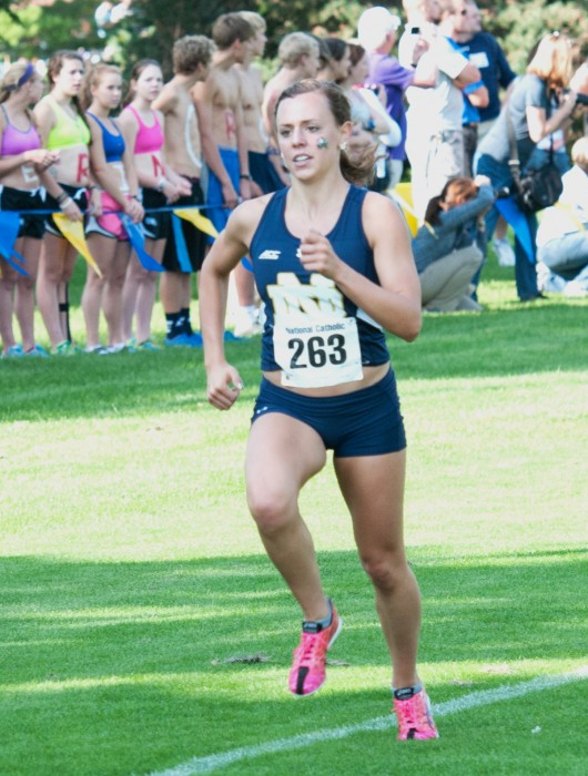 Irish senior runner Sydni Meunier competes in the National Catholic Championships at Notre Dame on Sept. 19, 2014.