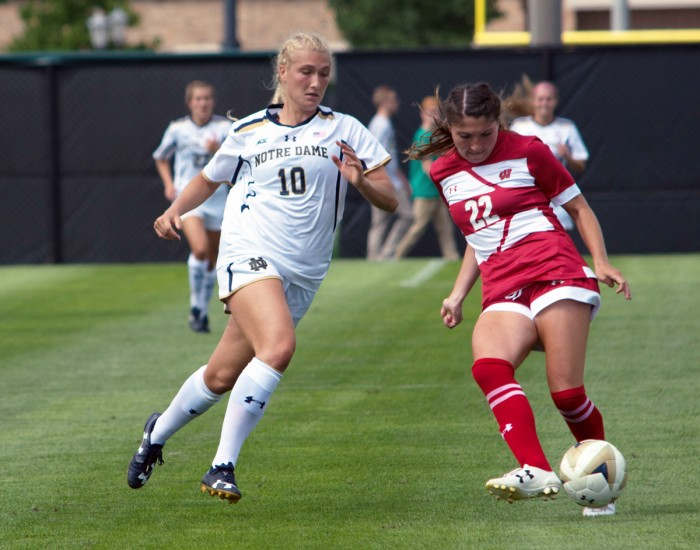 Irish freshman forward Jennifer Westendorf  attempts to intercept a pass during Notre Dame's 1-0 win over Wisconsin on Aug. 21 at Alumni Stadium.
