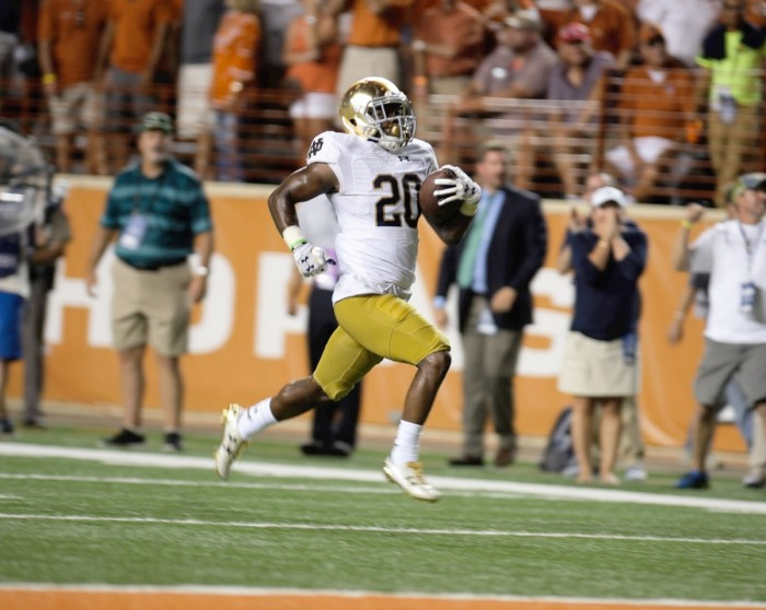 Irish sophomore cornerback Shaun Crawford returns a blocked extra-point attempt for two points in the fourth quarter of Notre Dame's 50-47 loss against Texas on Sunday at Darrell K. Royal-Texas Memorial Stadium. Crawford's return tied the score at 37 with 3:29 remaining in the game, pushing it into overtime.