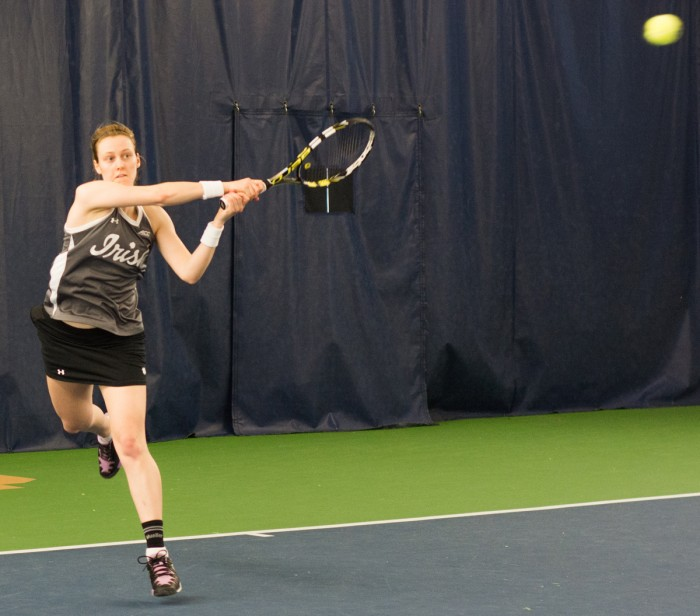 Irish junior Brooke Broda returns a ball during Notre Dame's 6-1 win over Indiana at Eck Tennis        Pavilion on Feb. 20.  Notre Dame reached the first round of the NCAA tournament last season.