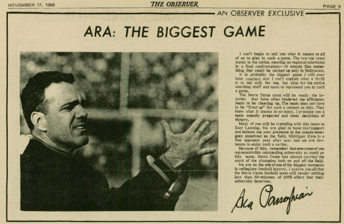 "This exclusive from then-Irish head coach Ara Parseghian appeared in the third-ever issue of The Observer prior to the ""Game of the Century."""